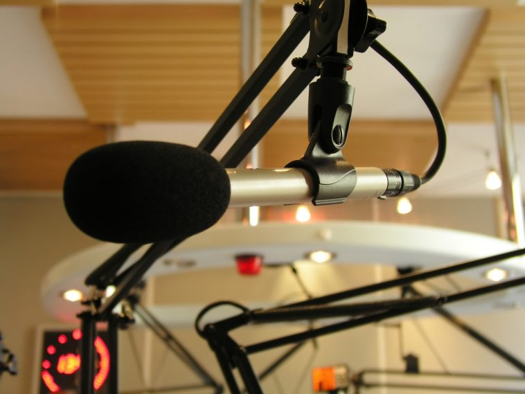 Broadcastnews microphone at the radio station