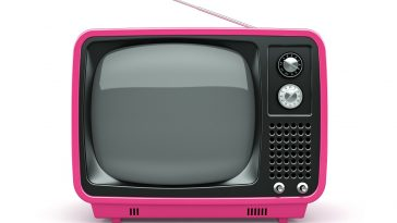 broadcastnews pink retro tv on white background 01