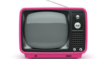 broadcastnews pink retro tv on white background 01