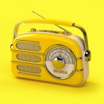 broadcastnews yellow vintage radio on yellow background 01
