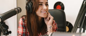 broadcastnews happy radio woman wearing headphones