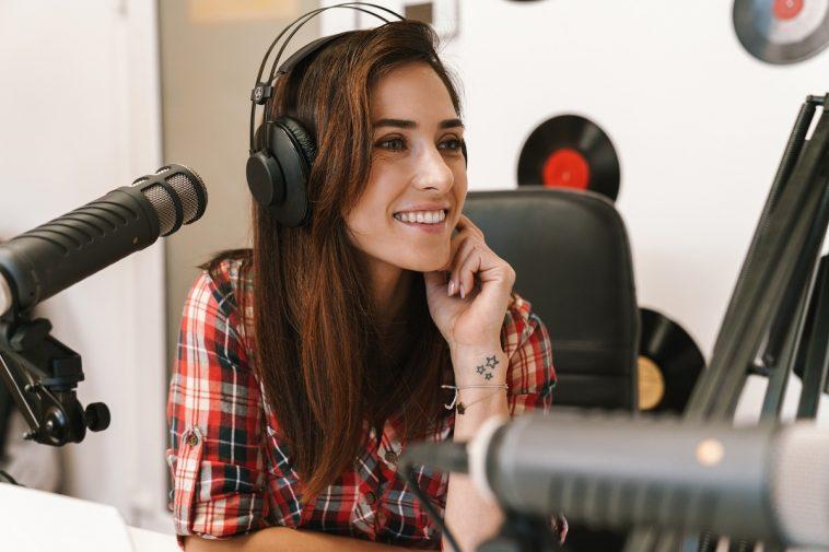 broadcastnews happy radio woman wearing headphones